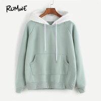 ROMWE Pale Green Patchwork Hoodie Women Raglan Long Sleeve Cute Contrast Hooded Sweatshirt 2017 Fall Pocket