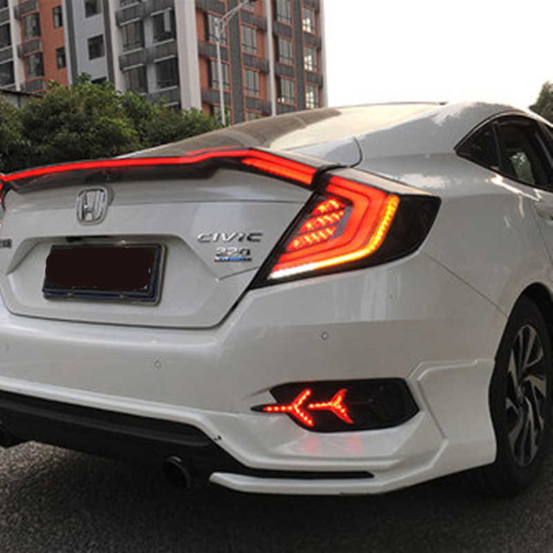 Led Red Smoked Tail Lamp For Honda Civic 10th Lights 2016 2017 Rear Drl