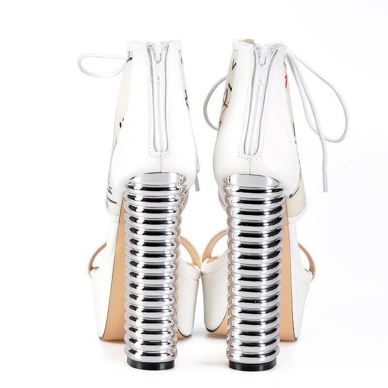 Sinsaut chaussures femmes talons hauts plate forme sandales femmes fil rond talons blanc Graffiti PVC avec sandales à talons compensés en cuir PU-in Sandales femme from Chaussures    3