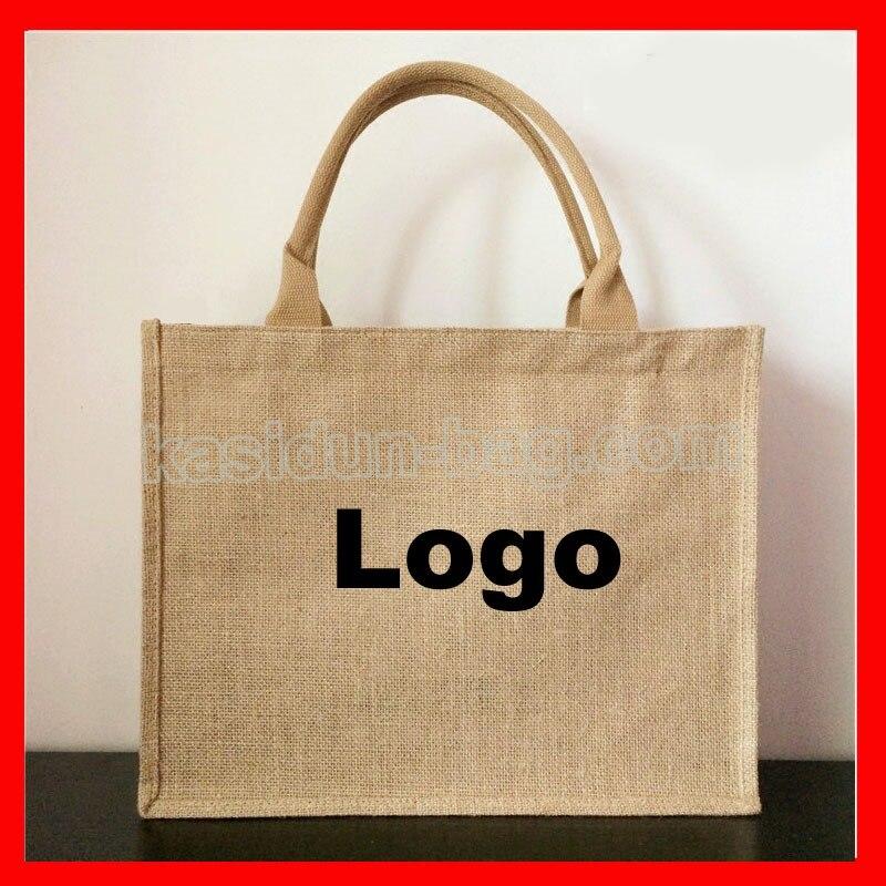 100pcs/lot customized jute bag logo 100pcs lot 20d221k