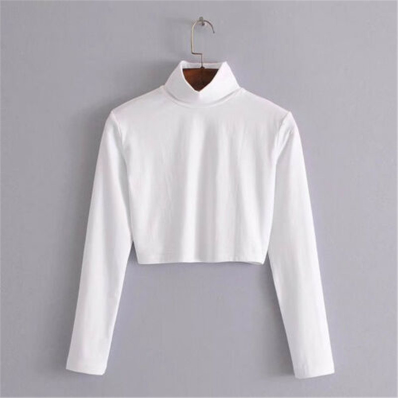 Fashion Autumn 2018 Female T-shirt Crop Top Solid White Tshirt Slim Sexy Turtleneck Long Sleeve T-shirts Women W3