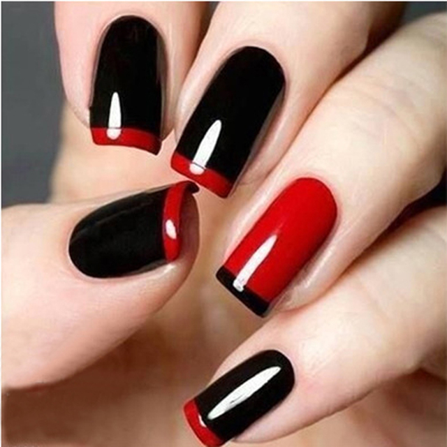 48pcs diy french manicure nail art decorations round form fringe guides nail sticker stencil nail art
