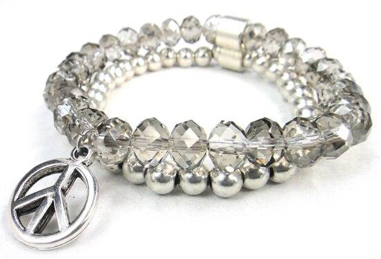 Новое поступление, 8 мм, блестящий серебряный хрустальный стеклянный браслет с подвеской мира, Женский растягивающийся браслет