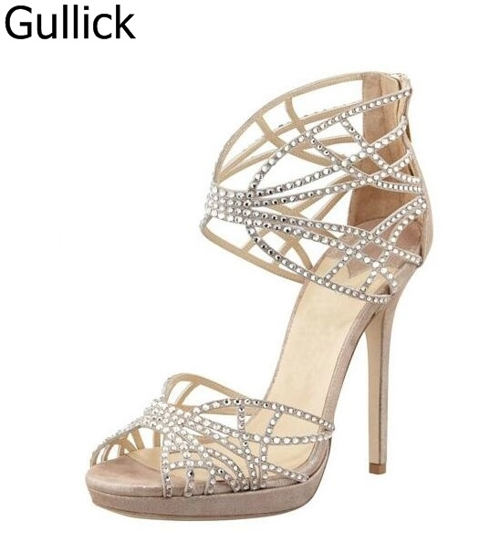 Hot Sale Crystal Embellished Strappy Sandals Beige Suede Cut-out Cage Shoes For Women Back Zipper High Heel Summer Dress Shoes lanyuxuan 2017 new hot sale sandals