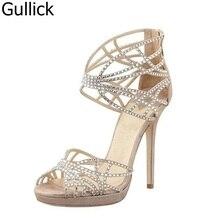 Hot Sale Crystal Embellished Strappy Sandals Beige Suede Cut-out Cage Shoes For Women Back Zipper High Heel Summer Dress Shoes недорго, оригинальная цена