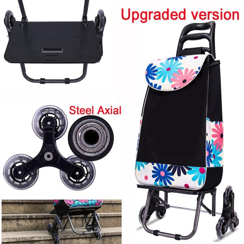 A 25L Lightweight folding shopping carts Sturdy hand carts trolleys Shopping Bag Waterproof 6 wheels climb