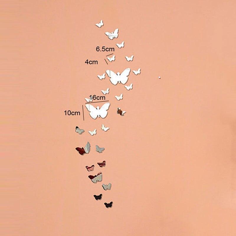 Лидер продаж заводская цена! Серебряный Bling акрил 3D бабочка Дизайн эффект зеркала настенные Стикеры DIY для художественной Гостиная