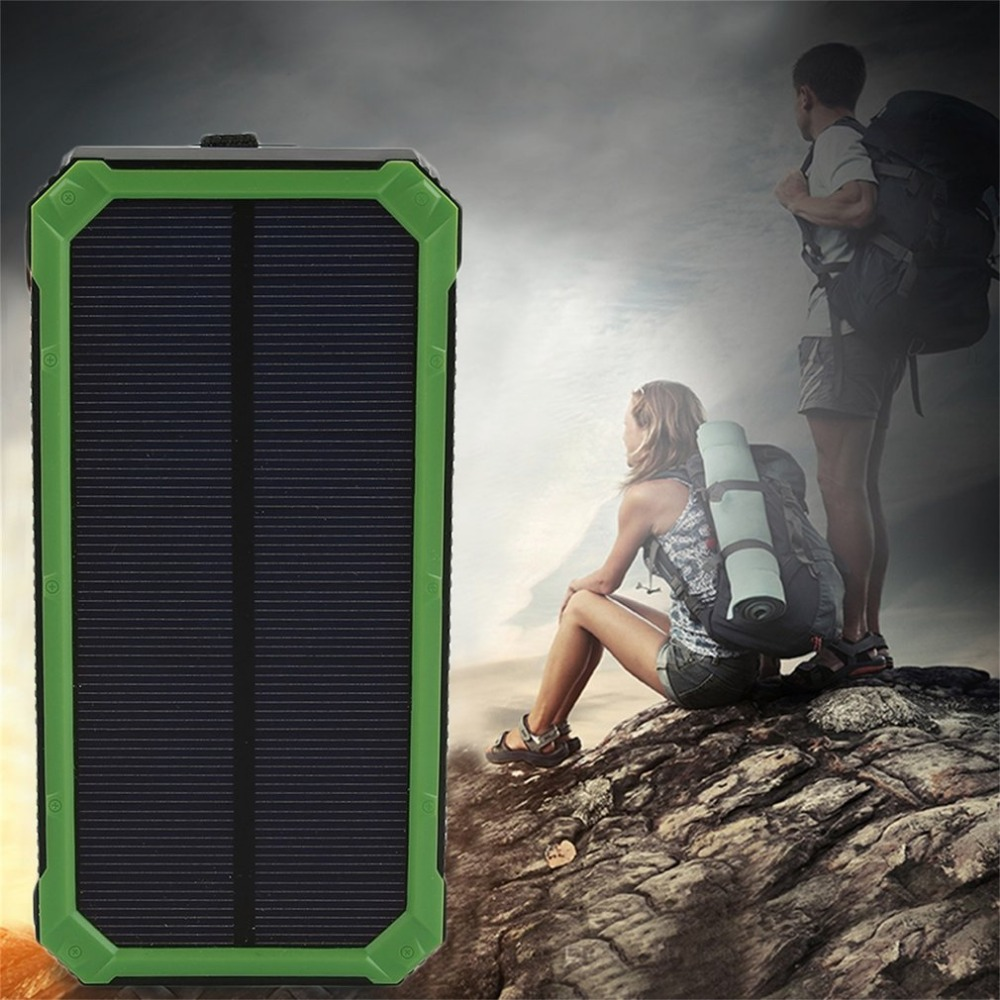 20000 NEW mah Solar Power bank With LED Light PowerBank For Mobile Phones with Cable For iPhone For xiaomi External Battery