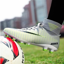 Men Football Boots Soccer Cleats Law Long Spikes TF Ankle High Top Sneakers Soft Indoor Turf Futsal Shoes 45