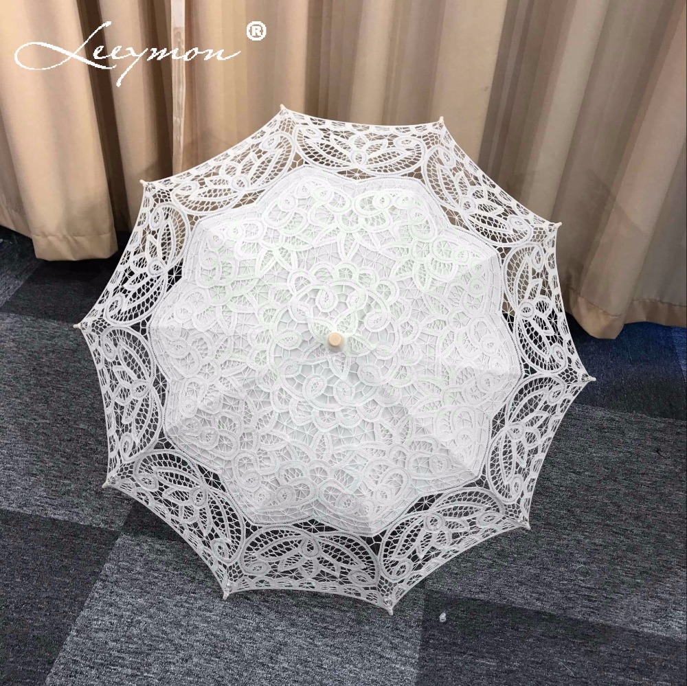 Vintage hvid / Ivory Lace Broderi Paraply Bomuld Battenburg Bryllup Brude Paraply Parasol Paraply Dekoration Gratis Levering