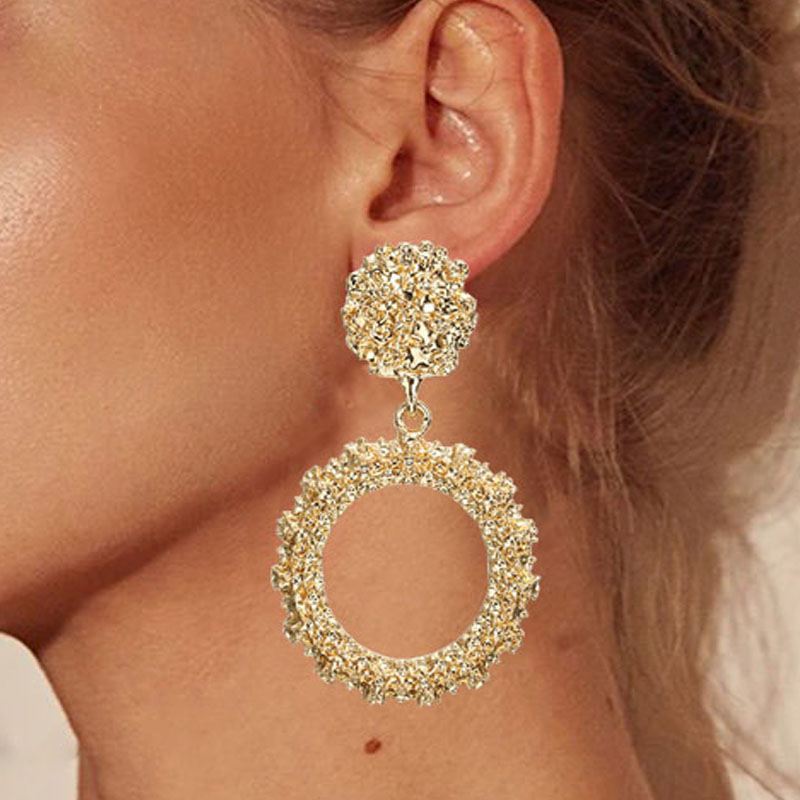 Round Vintage Earrings for Women of Gold/silver Earrings Fashion Jewelry Earrings Declaration 2019 Modern Fashion Jewelry(China)