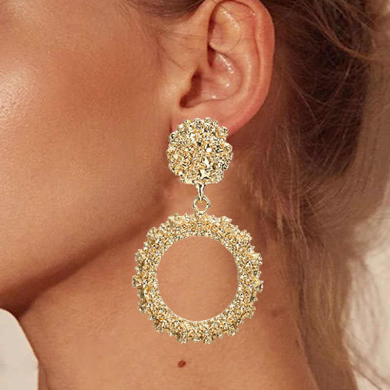 Round Vintage Earrings for Women of Gold/silver Earrings Fashion Jewelry Earrings Declaration 2019 Modern Fashion Jewelry