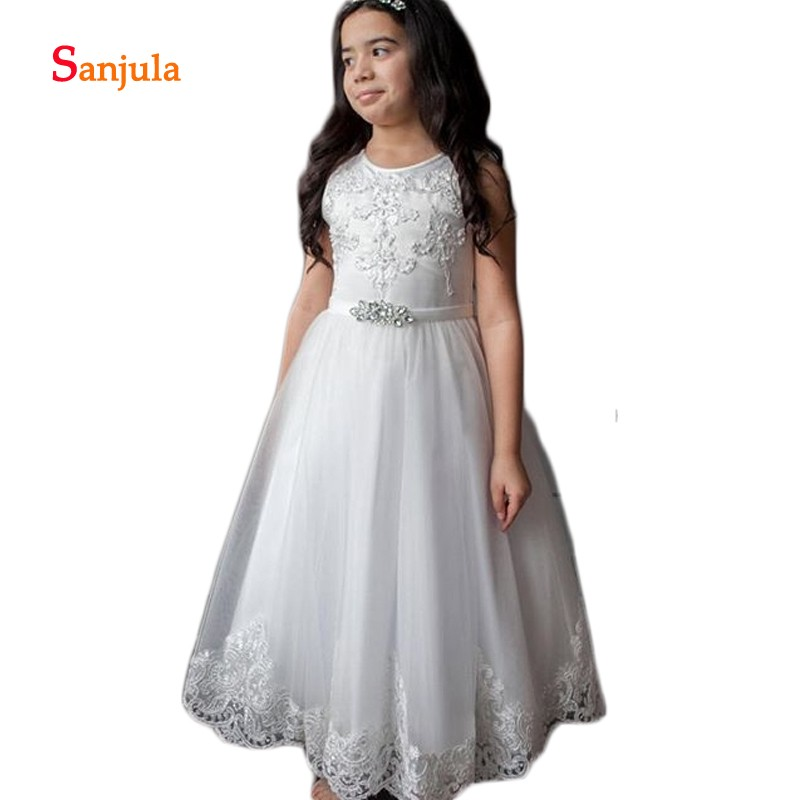 White Tulle   Flower     Girls     Dresses   A-Line Appliques Tank Pearls Beaded   Girls   Pageant Party   Dresses   Holy Communion Gowns D427