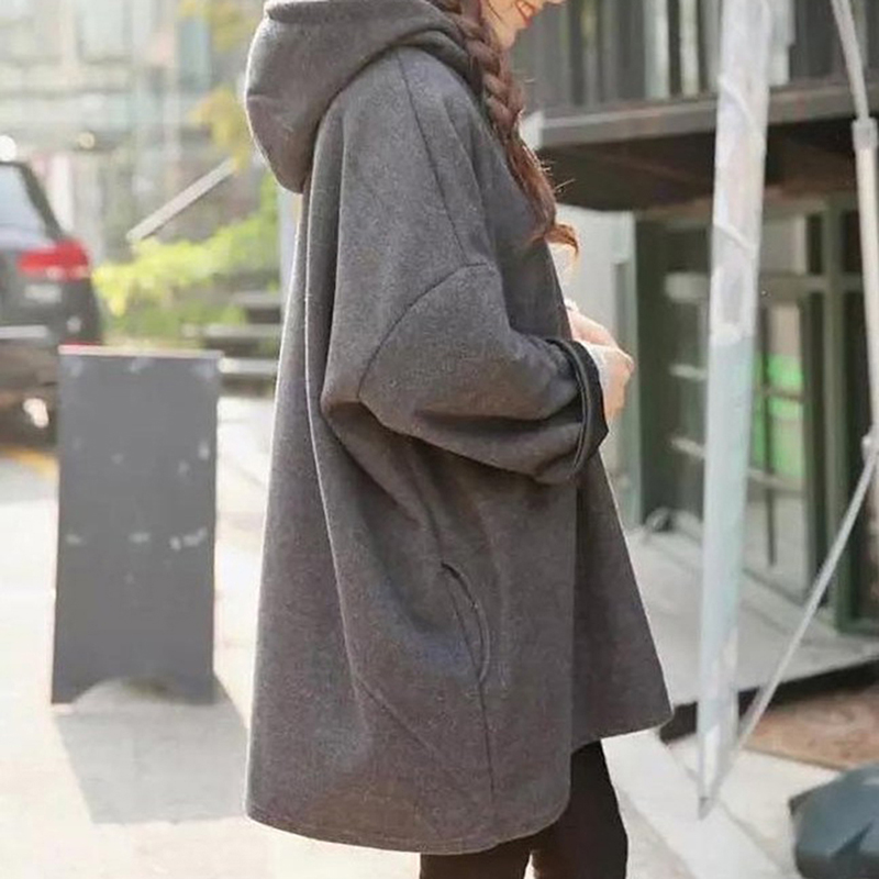 Women Autumn Winter Hooded Coats Warm Jacket Coat Casual Clothing Overcoat Tops Female Solid Hoodies Coat