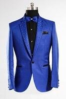 100 Real Royal Blue Crystal Beading Collar Tuxedo Jacket Wedding Stage Performance Club Sing Dance Blazers