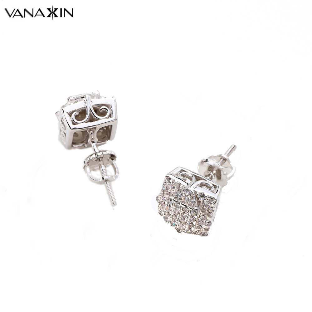 VANAXIN 2017 New Earrings Hiphop Iced Out AAA CZ Rhodium Plated Micro Pave Screw Back Stud Earrings Women CC Fashion Men Jewelry