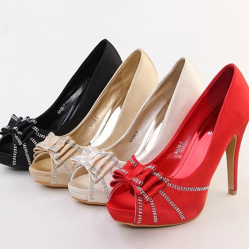 ФОТО Satin Wedding Dress Shoes Peep Toe High Heel Bridal Shoes Platform Single Shoes Lady Evening Party Banquet Pumps For Woman