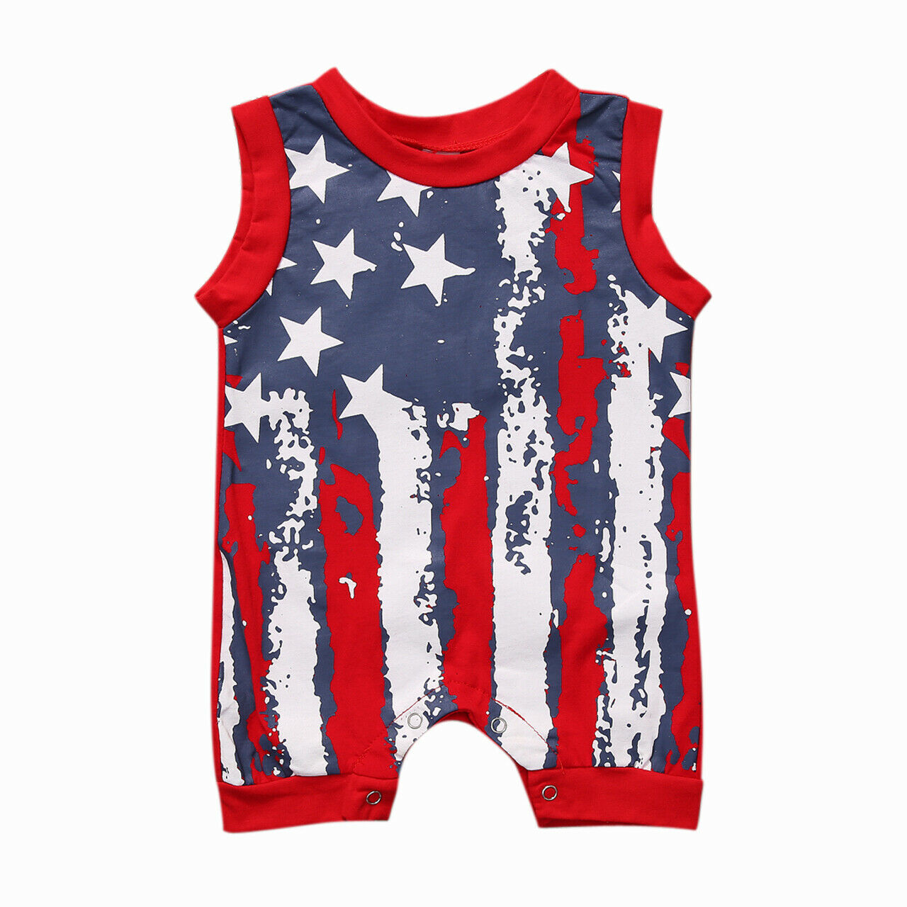 2019 Newborn Toddler Kids 4th of July Clothes Baby Boys Girls Sleeveless Striped Flag   Romper   Jumpsuit Clothes Outfits