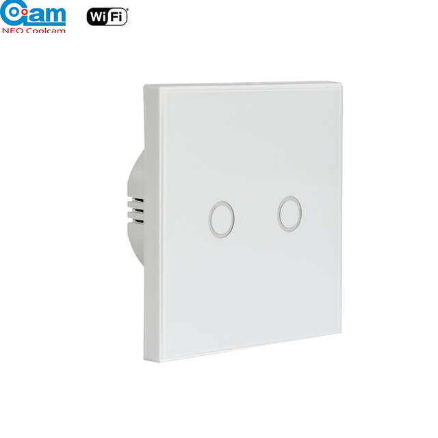 Neo Coolcam Wifi 2gang Wall Light Switch Gl Panel Touch Led Lights For Smart Home Wireless Remote Control