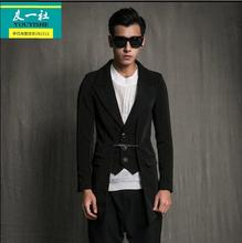 2017 M-6XL yards men fake two piece suit jacket new design Tide male han edition cultivate one's mora The singer's clothing