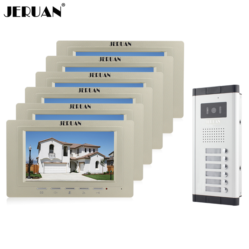 JERUAN Wholesale New Home Apartment Intercom System 6 Monitors Wired 7 Color HD Video Door Phone intercom System FREE SHIPPING brand new apartment intercom entry system 2 monitors wired 7 color video door phone intercom system for 2 house free shipping