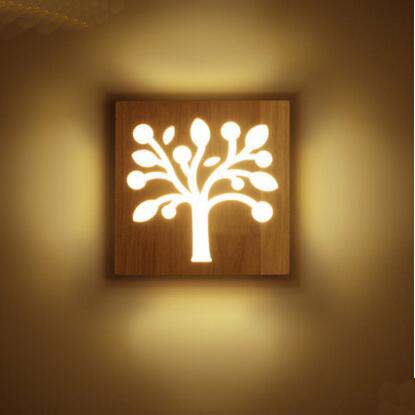 Modern wood wall lamp2020cm woodenacrylic platetreewifibulb modern wood wall lamp2020cm woodenacrylic platetreewifibulbshape wall light corridors living room bedside wall sconces in led indoor wall lamps from aloadofball