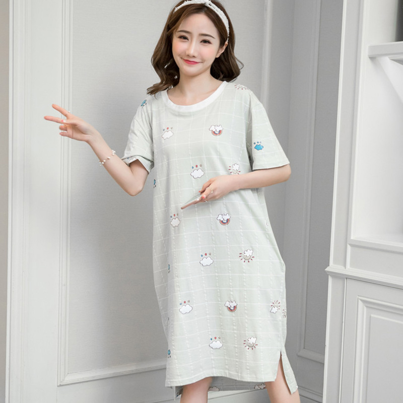 Summer   Nightgown   Women Cartoon Nightdress Long Sleepwear Girls Nightdress   Sleepshirts   Short Sleeve Night Dress Women Nightwear
