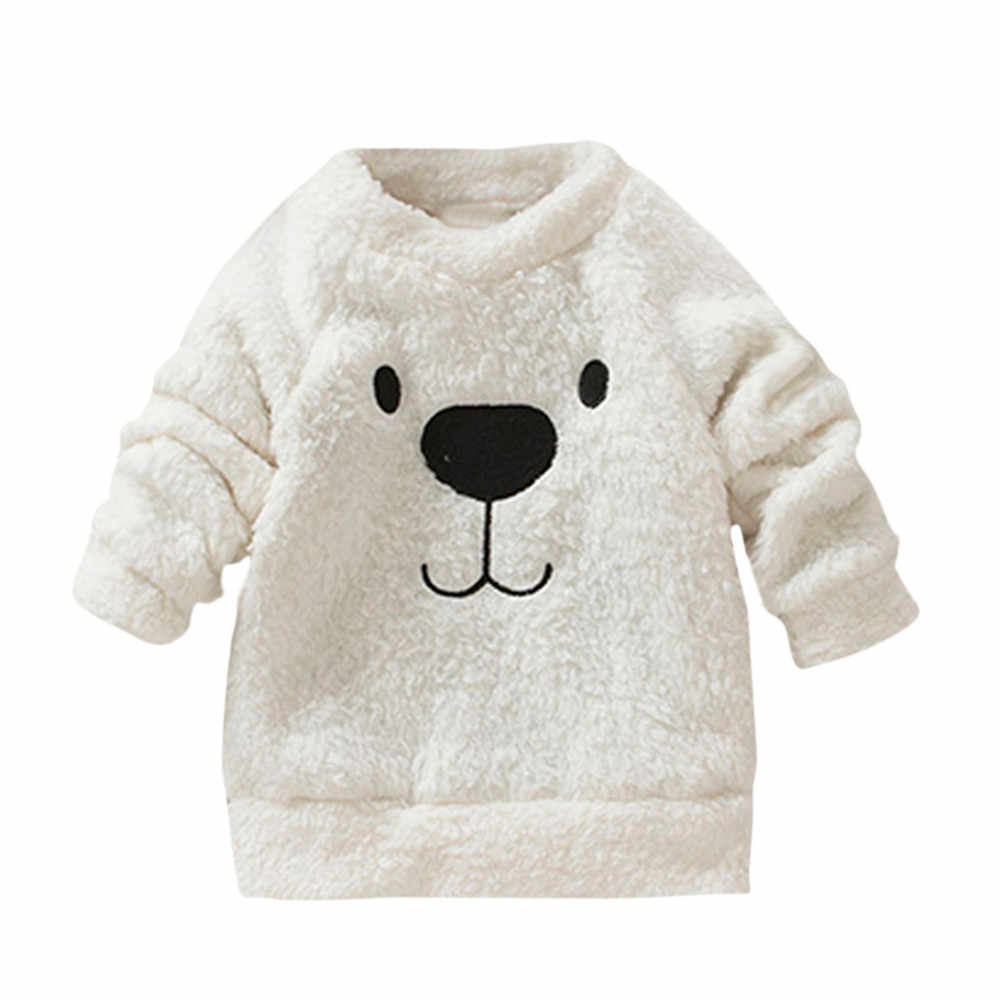 Thick Sweater Coat Cartoon Bear Children Baby new born baby boy Girls clothes Infant Warm Fleece Blouse T-shirt JAN14