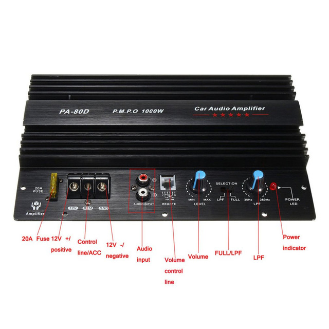 Best Price Board Mono Audio Power Amplifier Powerful Bass Subwoofers Amp for Car Modification PA-80D 12V 1000W New Arrivals