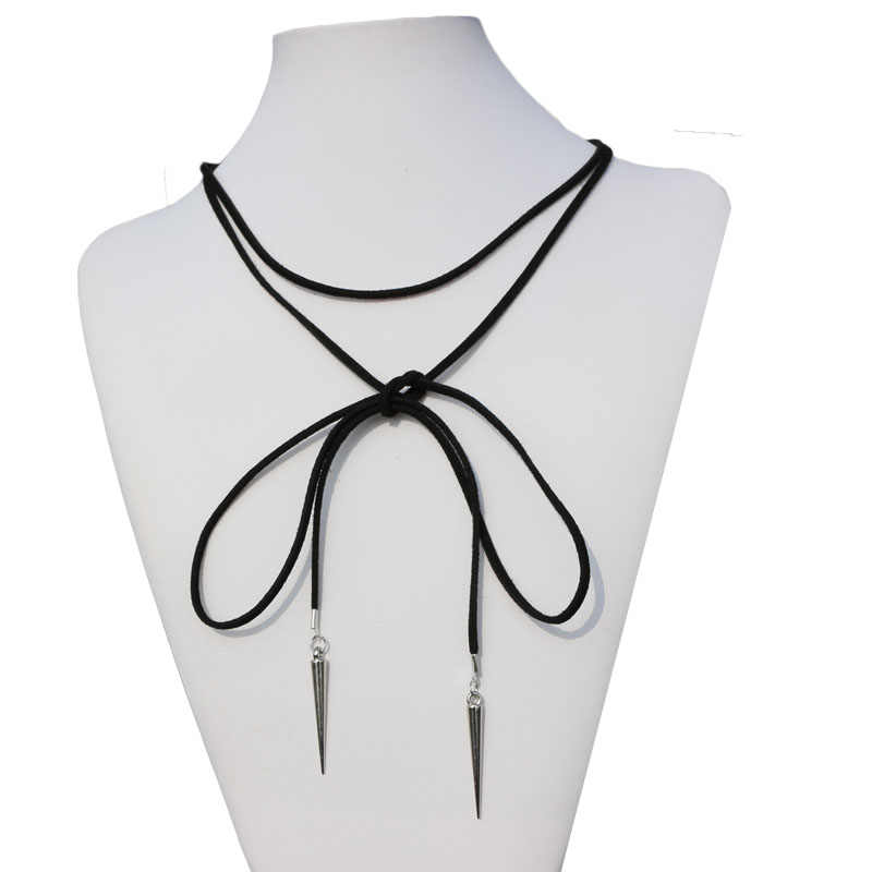 1PCS Rivet Pendant Black Suede Leather Cord Necklace Clavicle Choker Neck Strap Decoration Women Jewelry