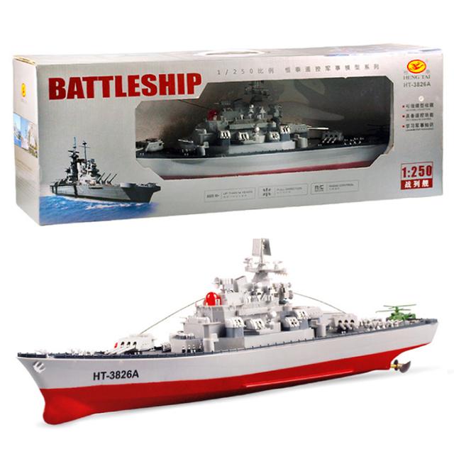 Envío gratis 1:250 ht-3826a rc hidroavión modelo de ensamblaje de simulación del buque de guerra acorazado modelo de cabina de mando central diy barco de juguete