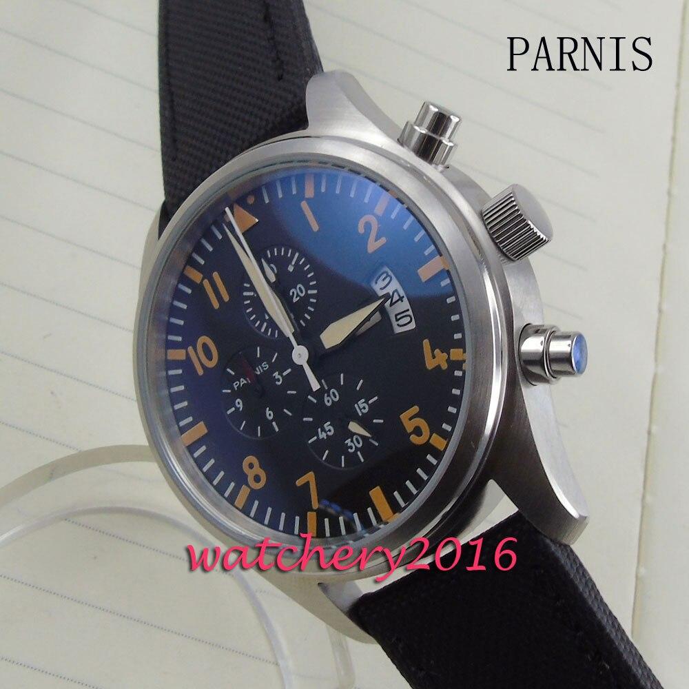 лучшая цена 42mm Parnis black dial orange markers date adjust full Chronograph quartz movement Men's business Watch
