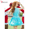 2017 New Turquoise Blue Short Homecoming Dress Lace Bateau Backless Mini Graduation Dress formal Prom Party Gowns vestido