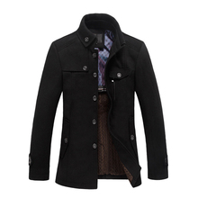 SUUTOOP Winter Wool Casual Coat Thicken Slim Fit Jackets Men Warm Outerwear Overcoat