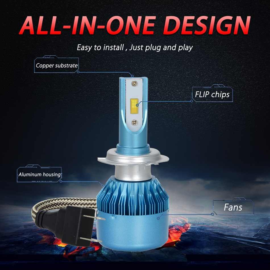RACBOX 72W 8000LM 880 9006 HB4 H7 Car LED Headlight Bulb Light Globe Hi Low Beam DC 12V 24V 6000K White LED Fog Lamp