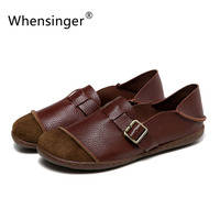 Whensinger 2016 Summer Autumn Women Leather Flats Feminina Slip On Shoes Buckle Decoration 2 Colors D1612