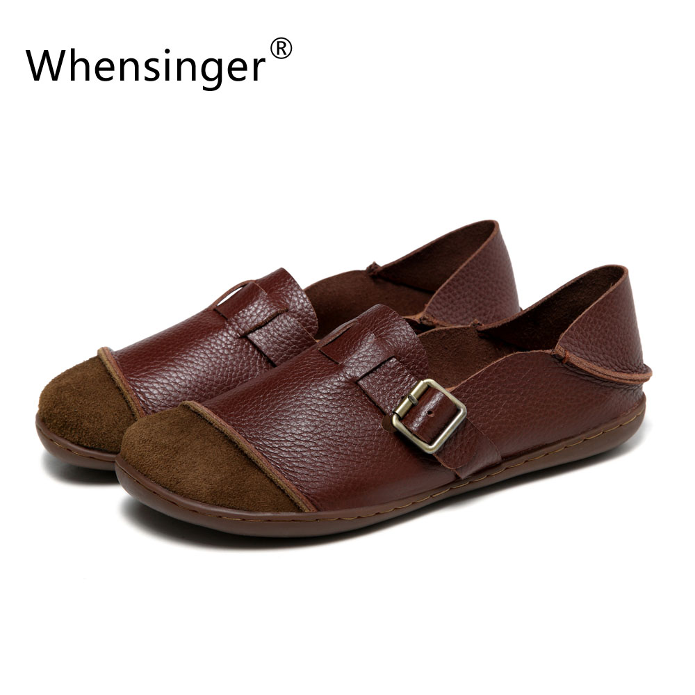 Whensinger - 2017 Summer Autumn Woman Leather Flats Feminina Slip-On Shoes Buckle Decoration 2 Colors 8819 lanshulan bling glitters slippers 2017 summer flip flops platform shoes woman creepers slip on flats casual wedges gold