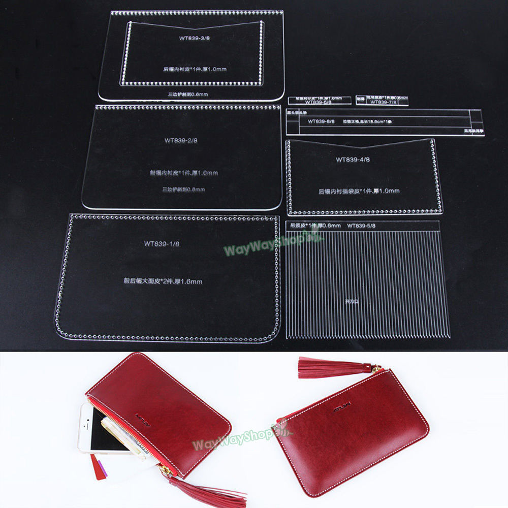Women\'s Leather Zipper Clutch DIY CRAFT Acrylic 839 templates TO ...