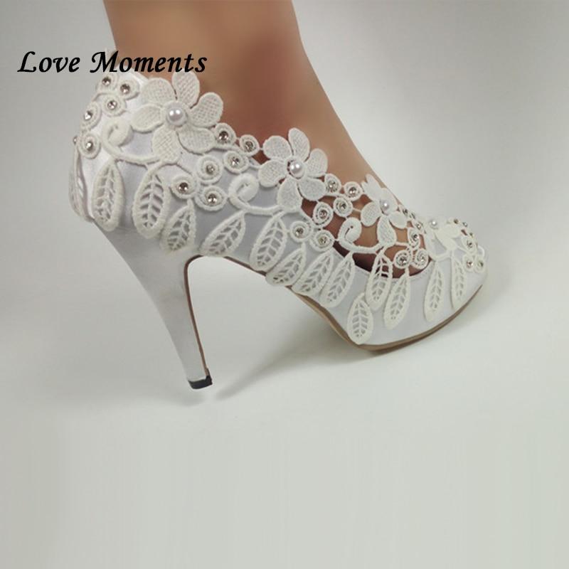 Love Moments chaussures de mariage à lacets blanc Peep Toe dames pompes chaussures de mode avec plates formes femme pompes de fête bout ouvert pompes-in Escarpins femme from Chaussures    2