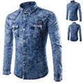 Hot Style Denim Blue Shirts Male Solid Casual Jeans Shirt 60% Cotton Long Sleeve Single Breasted Cowboy Shirt