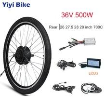 цена на Electric Motor Wheel 36V 500W Brushless Gear Hub Motor Electric Bike Conversion Kit LCD3 Display Bicycle Rear 26 27.5 700C 28 29