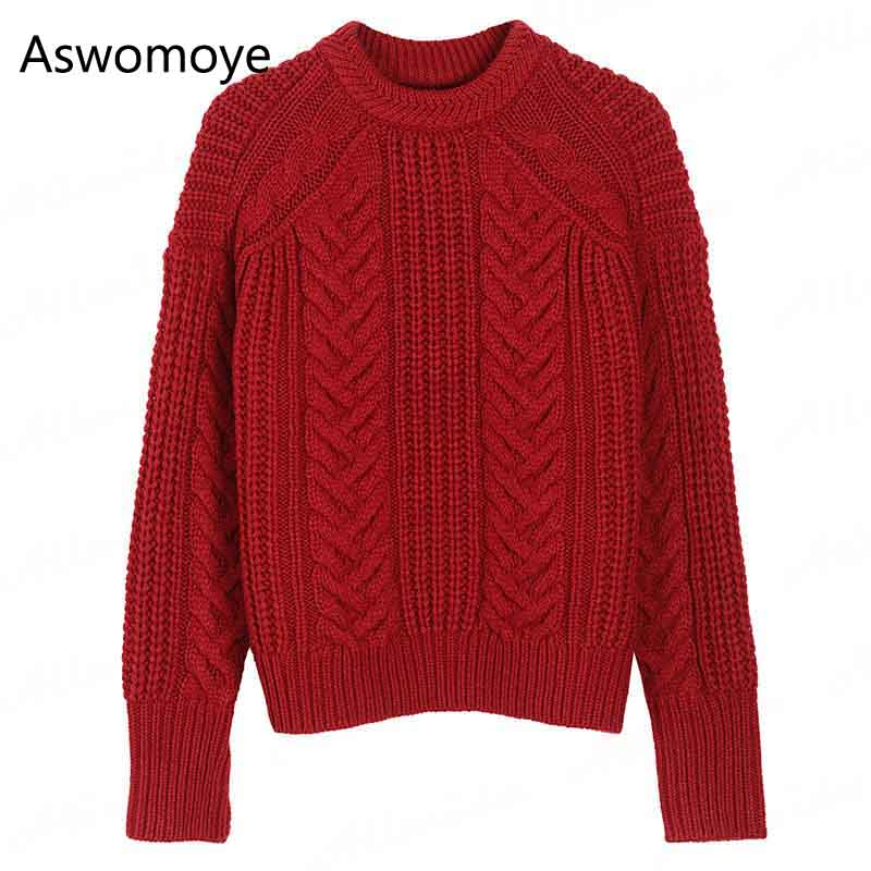 2017 New Winter Autumn Women Sweater Warm Tops Full Sleeve O-neck Retro Twist Pullovers Loose Female Knitwear Jumper Red White