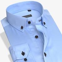 גברים חדשים הכחול מוצק שרוול ארוך תורו למטה עסקי צווארון הקלאסי שמלת החולצה מקרית Slim Fit 100% שאינו כותנה-ברזל חולצה רשמית