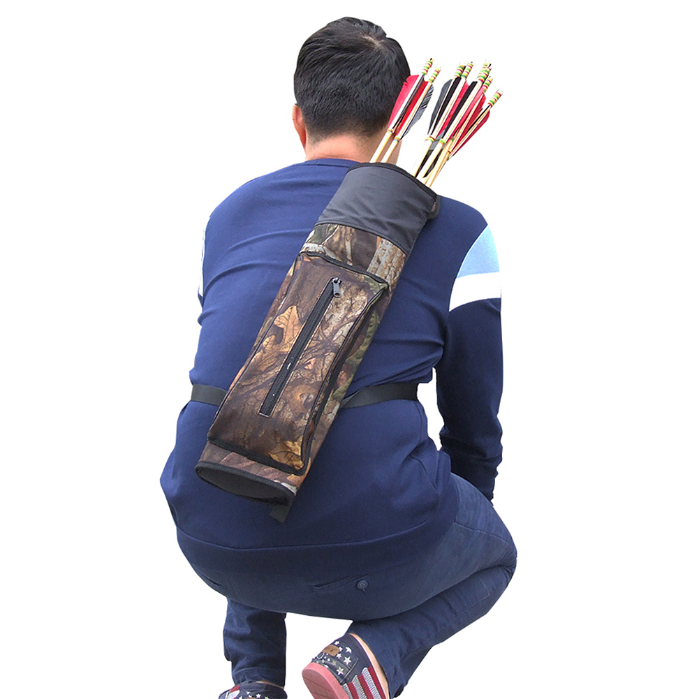 1PCS Bow and Arrow Shoulder Archery Arrow Quiver Holder Target Hunting Storage Bag Pouch Belt Strap Hunting Black Camo NEW hotselling archery bow and arrow accessories set 1pc extendable arrow quiver and 1 pc oxford fabric bow backpack
