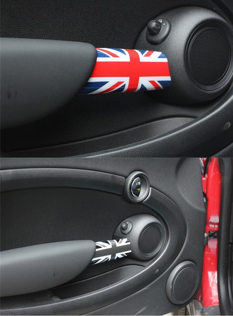 AMBERMILE 2PCS Union Jack Car Interior Door Armrest Cover Decoration Sticker for Mini Cooper Clubman R55 R56 R57 R58 Accessories (1)