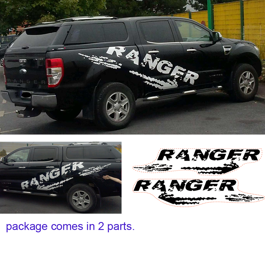 free shipping 2 PC mudslinger body rear tail side graphic vinyl for ranger decals 2pc claw scratches body side graphic vinyl decals for ford ranger2012 2015 truck decals badges detailing sticker