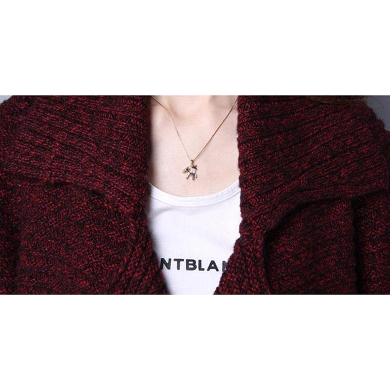 Chandail d'extérieur pour femmes 2019 nouveau hiver femme moyen-long cardigan épais à manches longues automne lâche maman tricoté manteau - 4