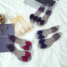 2018 Summer New Transparent Sandals Female Thread Bow Womens Casual Beach Shoes