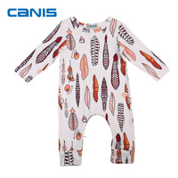 Newborn Infant Toddler Baby Boy Clothing Long Sleeve Feather Print Romper Jumpsuit Outfit Autumn Printed Casual Clothes 0-24M
