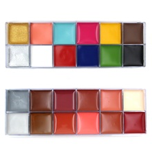 12 Colors Face Painting  Flash Tattoo Face Body Painting Oil Painting Art Halloween Party Fancy Dress Party Fantasy Makeup Tools